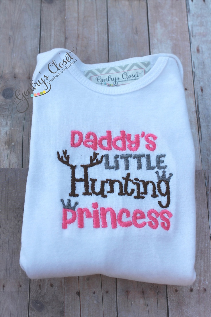 Daddys Little Hunting Princess Long Sleeve Shirt or Onesie for Baby Girl, Toddler, Little Girl. Pink Huntin. Embroidered Infant Bodysuit.. $22.00, via Etsy.