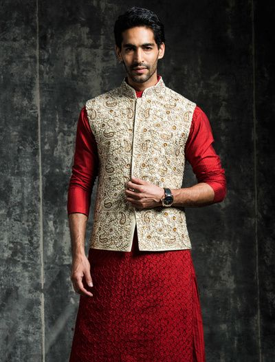 red silk kurta, self print kurta, cream nehru collar jacket, gold ambi design jacket