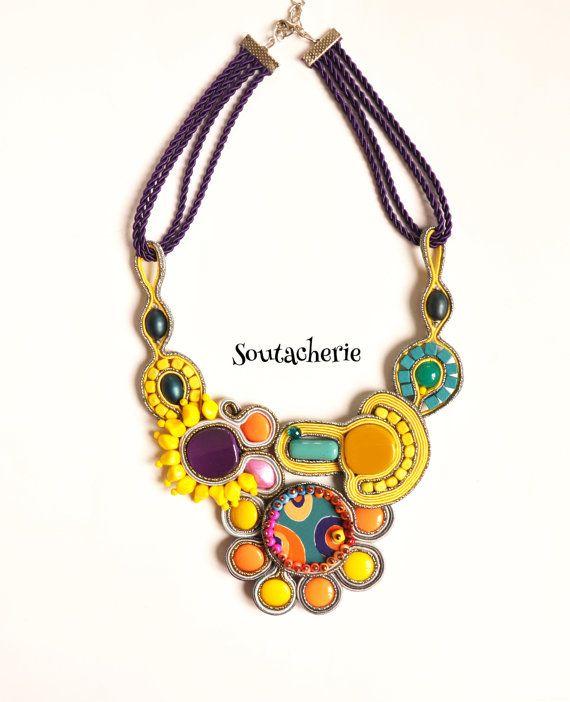 Colorful Soutache Statement Necklace by Soutacherie on Etsy, $70.00
