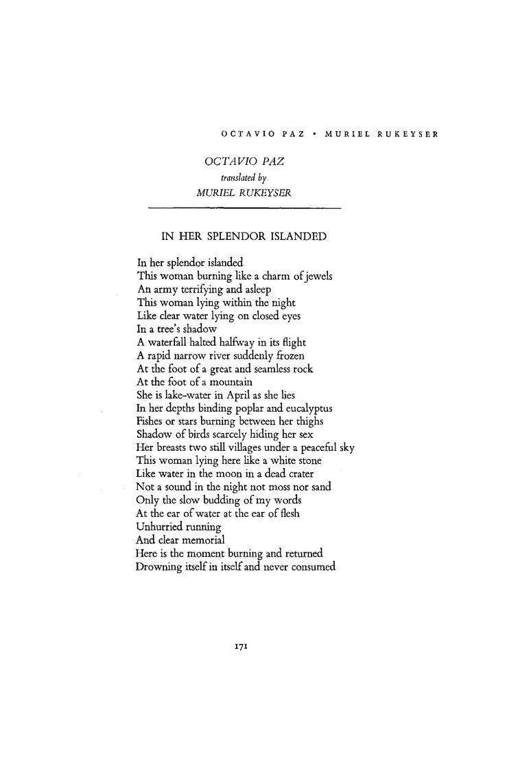 In Her Splendor Islanded by Octavio Paz