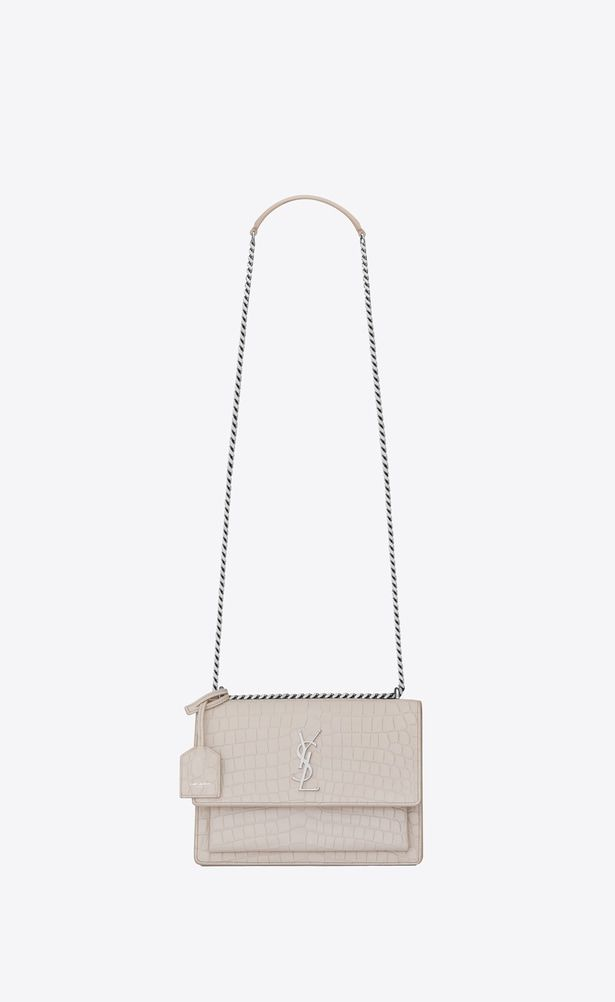 d40336a5bf8 SAINT LAURENT Sunset Woman Medium SUNSET Bag in Icy White Crocodile  Embossed Leather a_V4