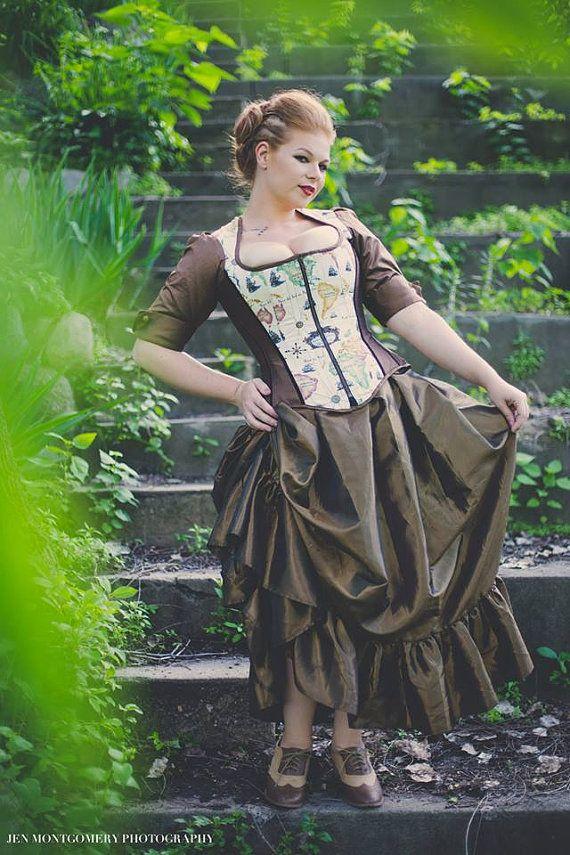Gothic Steampunk Skirt Victorian Pirate Adult by KMKDesignsllc