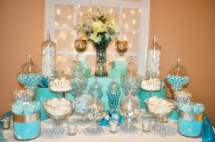 Candy Buffet Centerpiece Wedding : Aqua candy buffet table wedding ideas pinterest