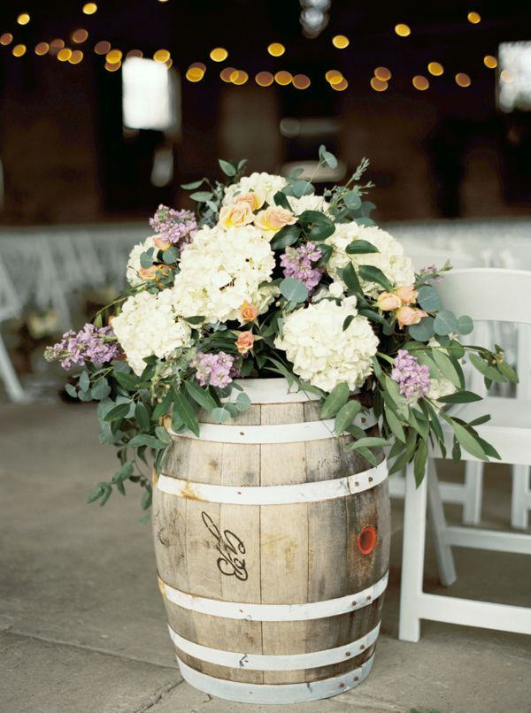Hydrangea arrangment in rustic barrel | Courtney Leigh