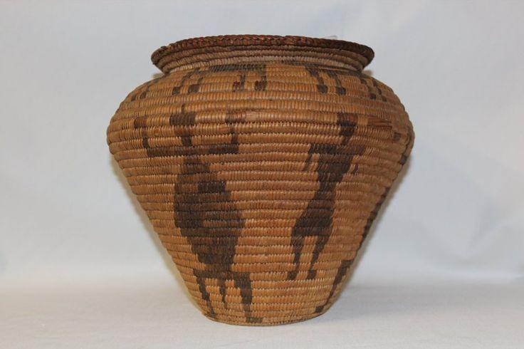 Pima Basket : Pima Indian Olla Basket with Human Figures and Gila Monsters #25