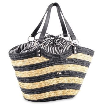 panier sac de plage sac paille de plage style cabas noir plage summer. Black Bedroom Furniture Sets. Home Design Ideas