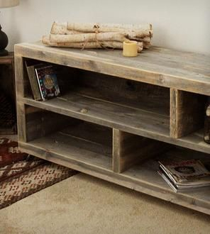 Reclaimed Wood Long Bookshelf