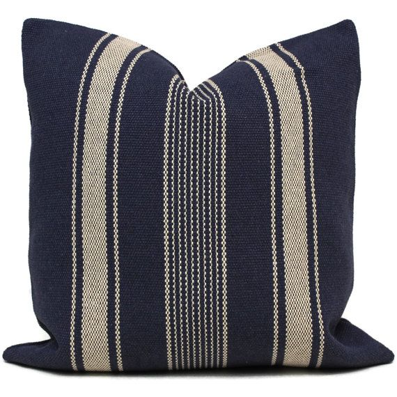 Decorative Pillow Cover, French Grain Sack Pillow Cover with Blue and Off White Stripe, Made to order size
