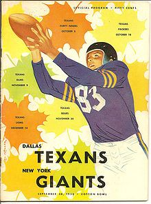 Program from first ever game played by Dallas Texans in 1952.