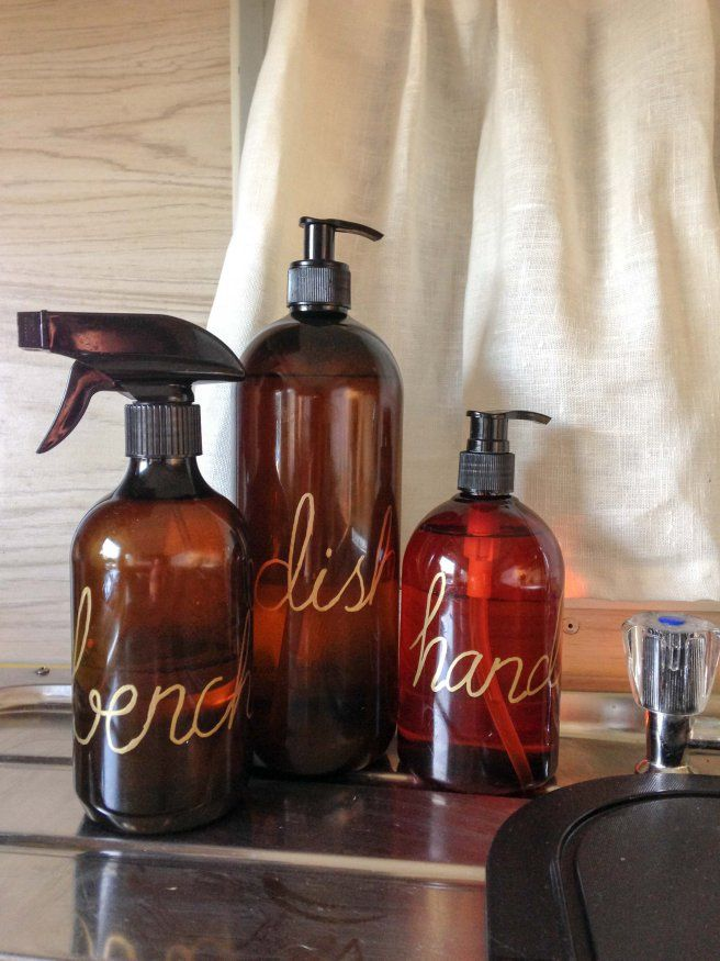 DIY pretty hand written bottles for caravan cleaning products
