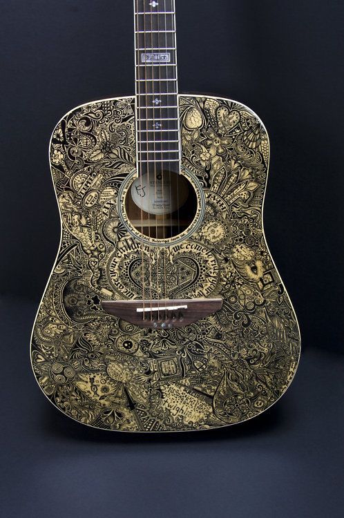 This guitar was illustrated with a Sharpie. #illustration #design