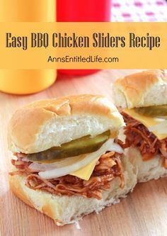 Easy BBQ Chicken Sliders Recipe;  Looking for an easy lunch of dinner idea? Try these great tasting barbecue chicken sliders. Fast, fun and simple to make, your entire family will love them!