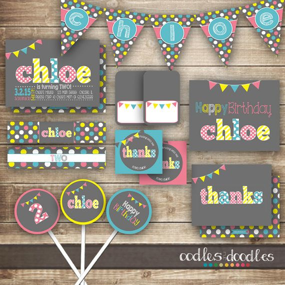Pink and Turquoise and Yellow Girl's Birthday Party | Party Printables by Oodles and Doodles | OandD.etsy.com | Oodles and Doodles.com