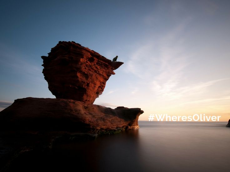 """While most of PEI's north shore is known for epic rolling dunes and wide beaches of fine sand, Thunder Cove is so much different."" Caves, cliffs, and columns dot the beach. Oliver's favourite is the lone sea stack, in the shape of a teapot, which stands out from the red sand shore. Find out more at http://welcomepei.com/beaches/thunder-cove-beach/"