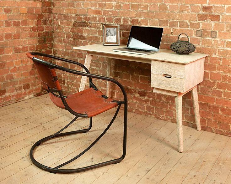 Saya White Mango Desk - White-washed Mango wood desk with 2 useful drawers  featuring