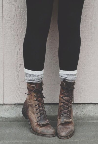 leggings + socks + combat boots. whats not to love??