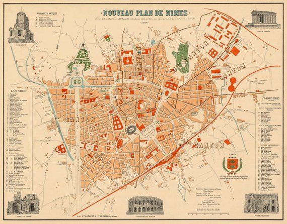 Nimes Map Plan De Nimes Giclee Fine Print On Paper Or Etsy In 2021 Map Vintage Maps Nimes
