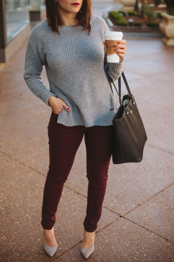 fall outfit ideas, grey and burgundy outfit ideas via @mystylevita