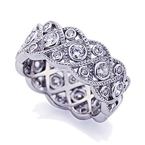 This beautiful Platinum Plated Sterling Silver 1.75ct CZ Wedding Band Vintage Eternity Ring ( Size 5 to 9 ) is meticulously crafted in gleaming and durable Sterling Silver....