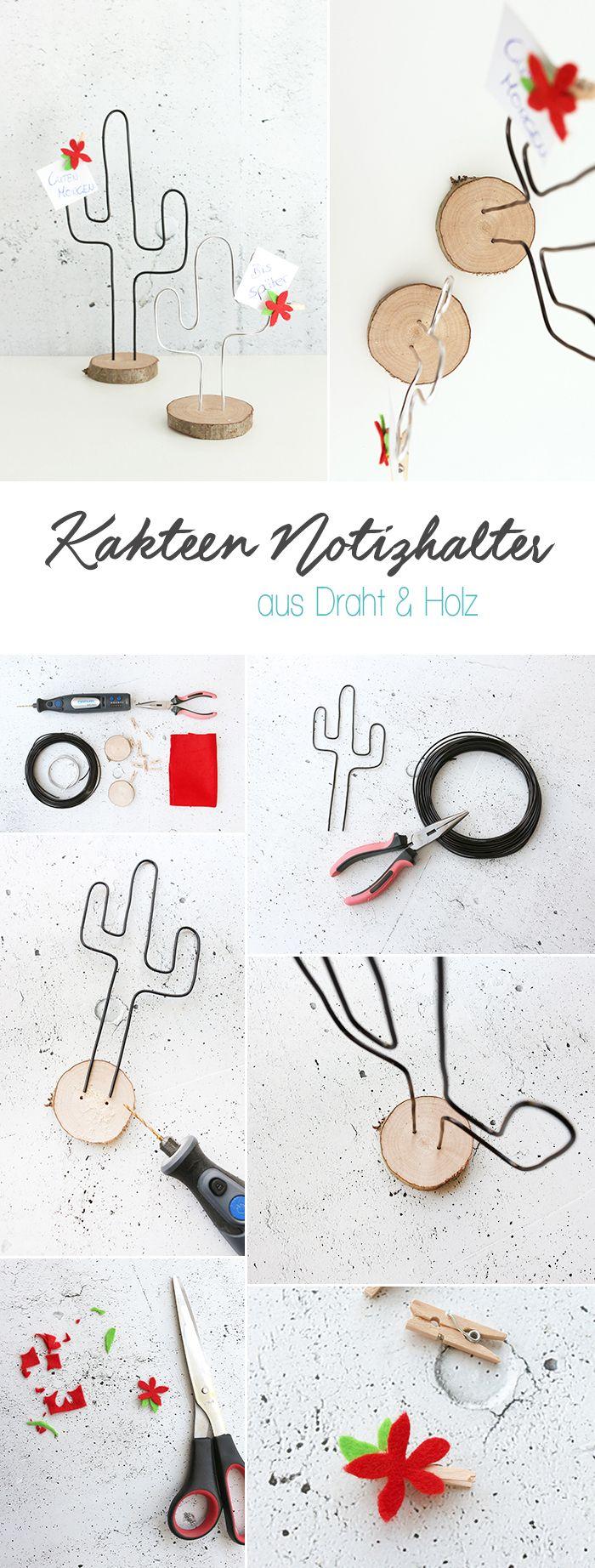Dani von Gingered Things zeigt dir auf ihrem DIY Blog wie du aus Basteldraht und einer Holzschreibe einen kreativen Notizhalter in Form angesagter Kakteen basteln kannst.