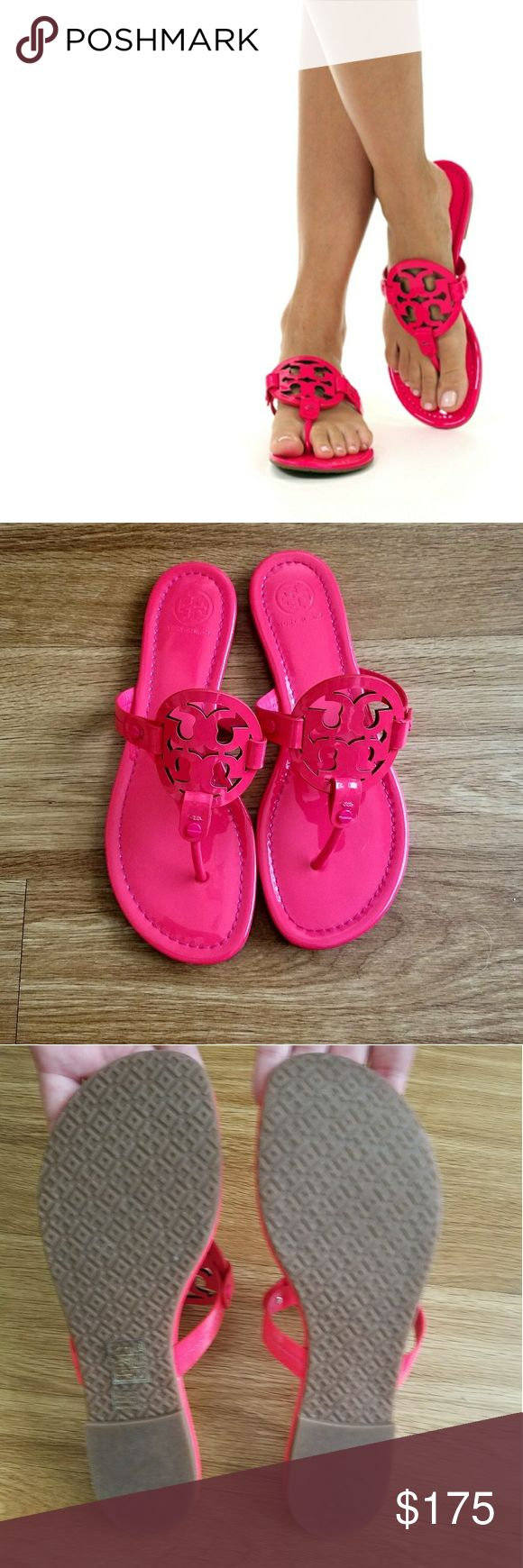 Tory Burch Miller Sandal Fluo Fuchsia NWOT!! Only worn to try on. Simply breathtaking!! All reasonable offers welcome!! Tory Burch Shoes Sandals