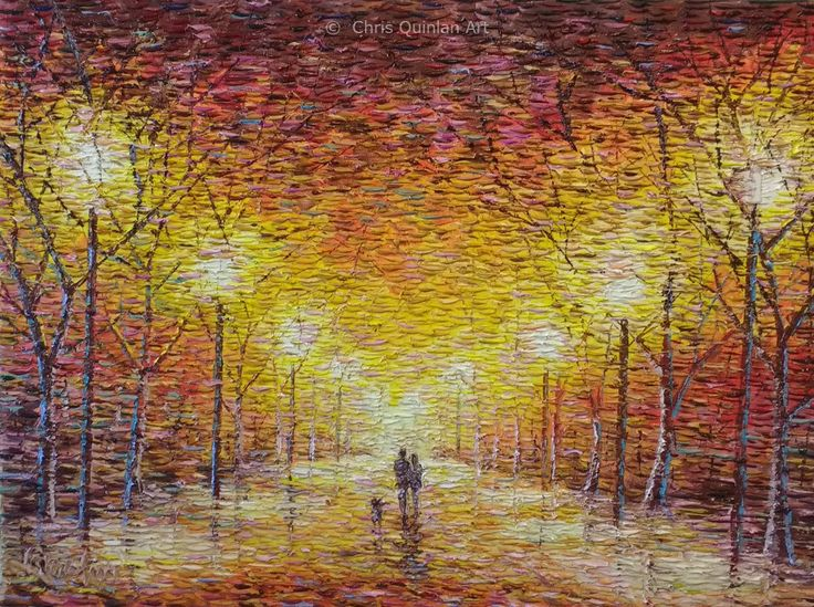 "Impressionist Avenue painting by Chris Quinlan Art. 24"" x 18"" oil on canvas."