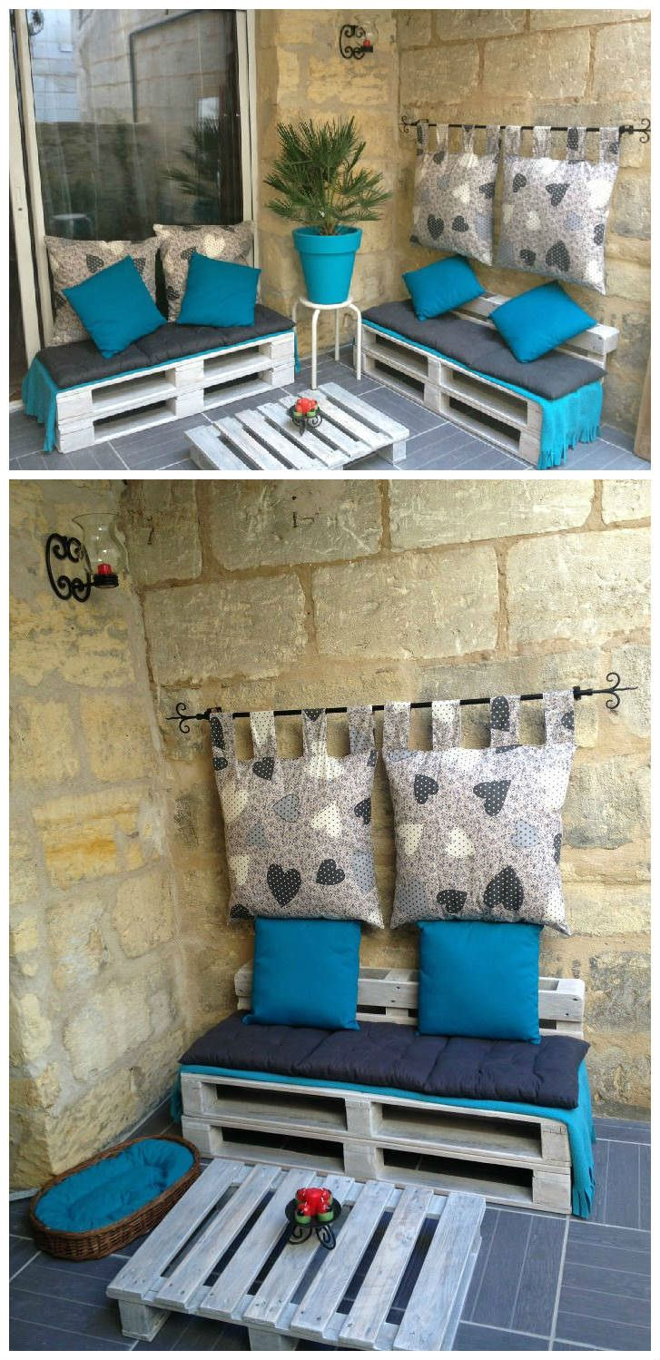 #Corner, #PalletSofa, #PalletTerrace, #ReclaimedPallet, #Terrace   Here is an idea of pallet corner made by Virginie in her south-west-of-France house! The colors are well chosen!