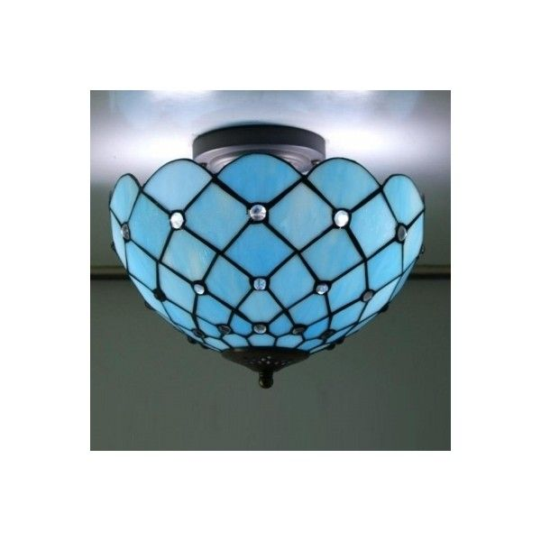 Mediterranean Sea Blue Pattern 12 Inch Semi Flush Mount Ceiling Li... ($75) ❤ liked on Polyvore featuring home, lighting, ceiling lights, array0xac163e0, blue lamp, blue hanging lights, semi flush ceiling lights, blue ceiling lights and semi flush lighting