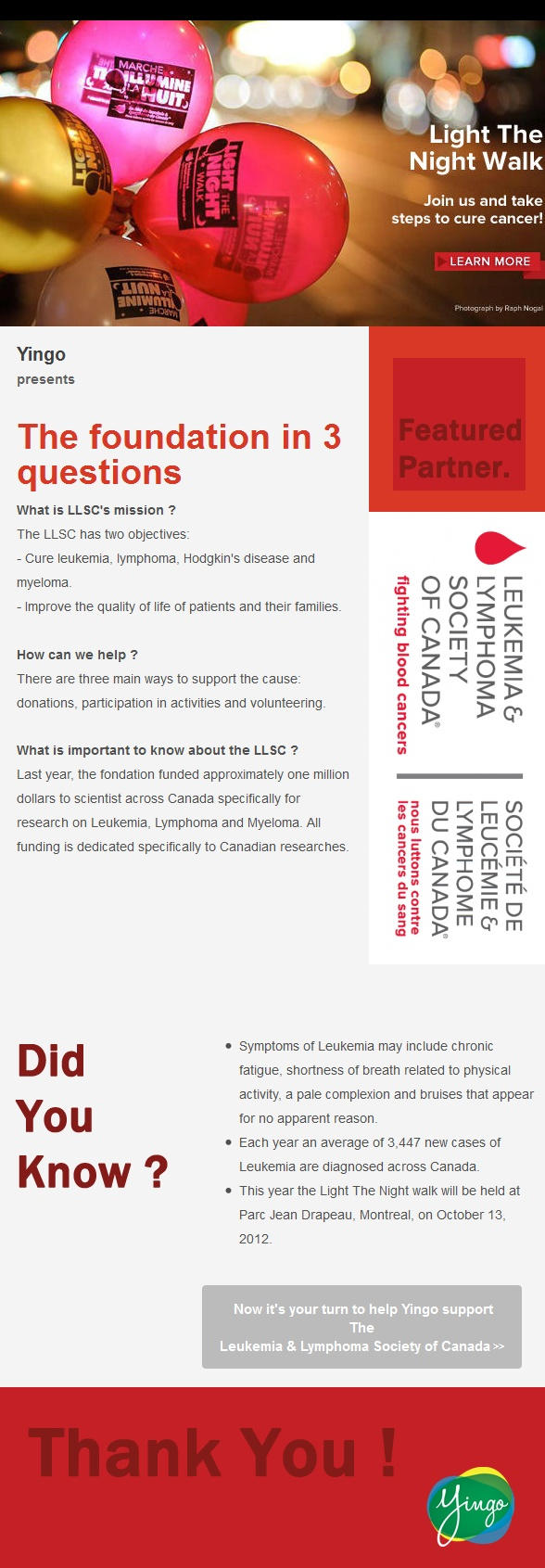 Find out more about the Leukemia & Lymphoma society of Canada, Yingo.ca charity partner for the month of October !