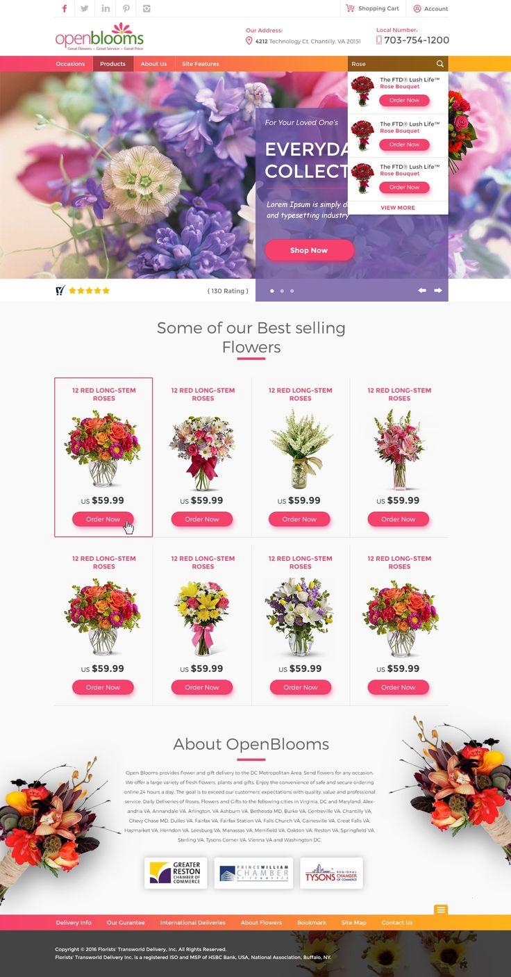 Интернет–магазин цветов, нравятся оттенки и насыщенность элементами, при этом чистый не шумный дизайн