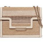 AERIN Leather-trimmed striped straw shoulder bag