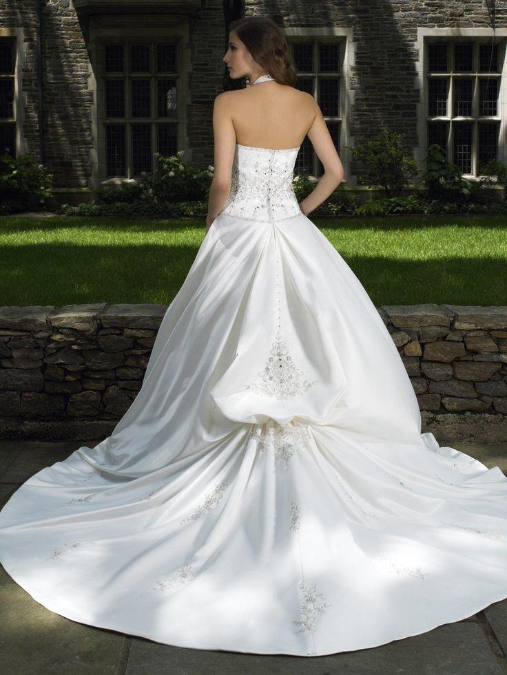 Italian Satin Ball Gown Sweetheart and Detachable Halter Strap Wedding Dress