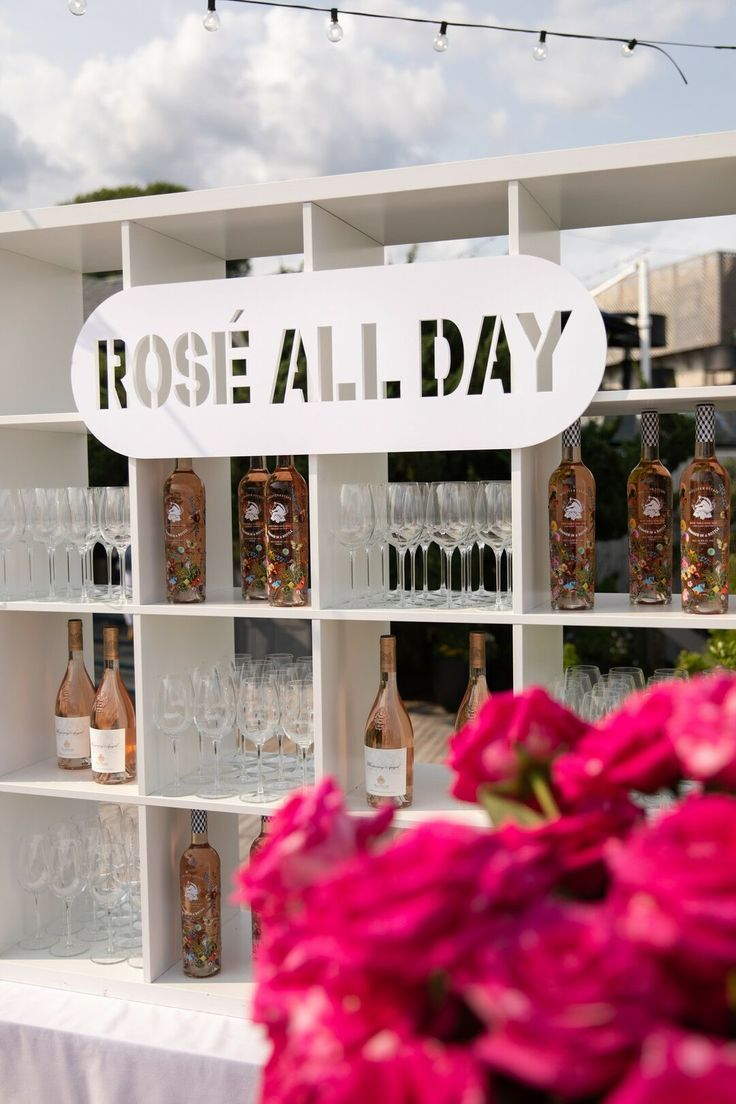 White Rosé Bar with Modern Signage in 2020 White roses