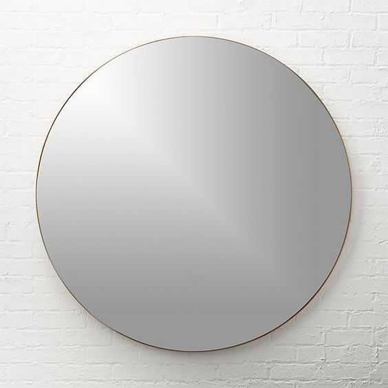 """Free Shipping. Shop infinity 36"""" round brass wall mirror. Mirror image without bounds framed thin, trim and exact in pure extruded aluminum with a brushed brass finish. Handmade frame resists corrosion so it's perfect in the bath."""