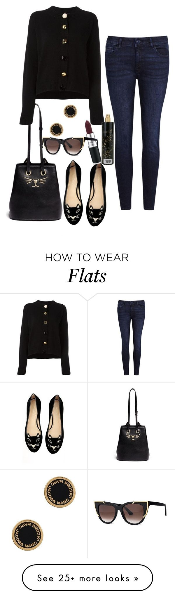 """""""Charlotte Olympia kitty flats and bag"""" by ms-hinds on Polyvore featuring Charlotte Olympia, DL1961 Premium Denim, Dolce&Gabbana, Marc Jacobs, Nasty Gal, Thierry Lasry and Aquolina"""