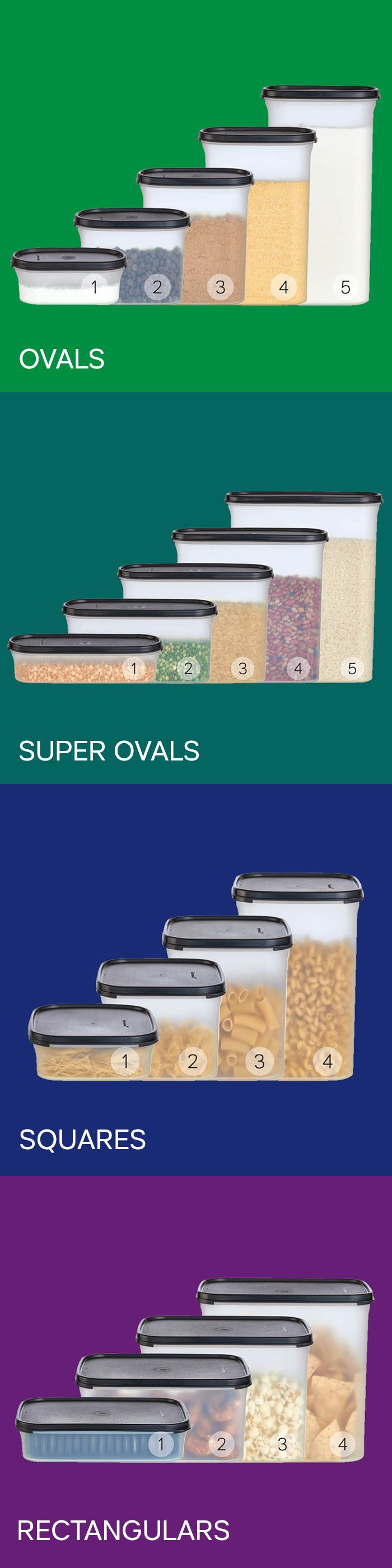 Modular Mates® containers. Cut waste and save money. Spill-proof seals to keep food extra fresh, extra long. Ovals & Squares for shallow spaces and Super Ovals & Rectangulars for deep.