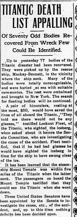 Clinch Valley News, Tazewell, VA, April 26, 1912    Titanic [sic] Death List Appalling