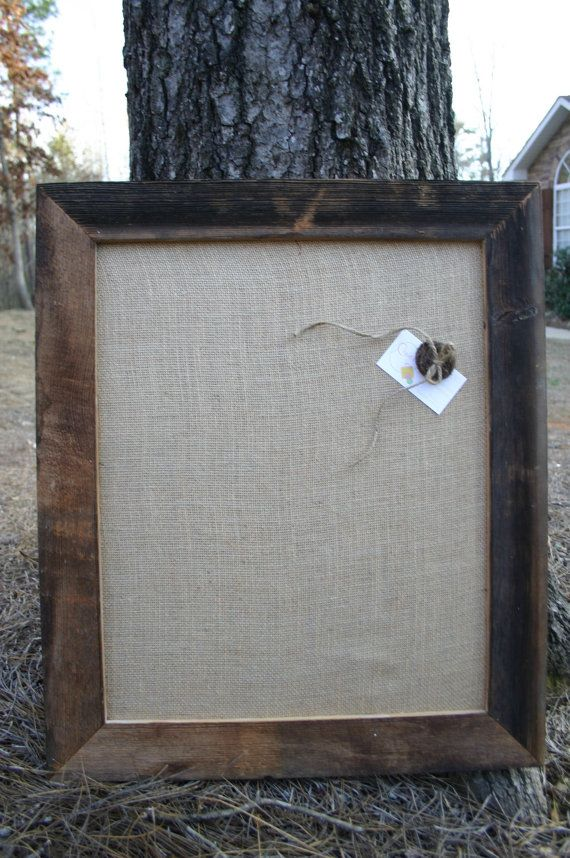 "Beautiful Barn Wood Frame with burlap Cork Board  22""x26"" on Etsy, $40.00"