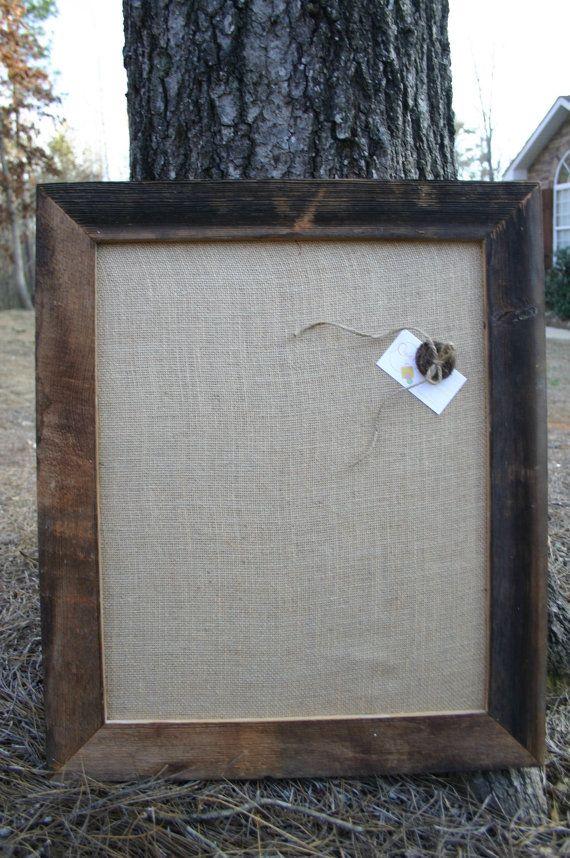 "22x26"" Beautiful Barn Wood Frame with burlap Cork Board on Etsy, £25.20"