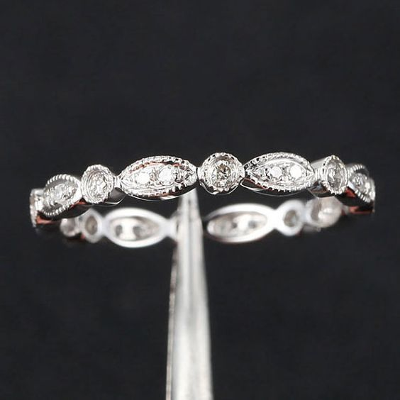 Diamond Wedding or Engagement Band 14k White by Twoperidotbirds / http://www.himisspuff.com/wedding-bands-for-women/6/