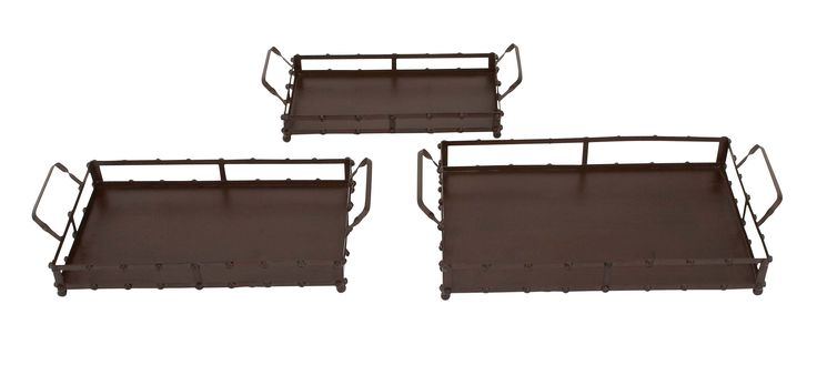 Set Of 3 Square Metal Trays