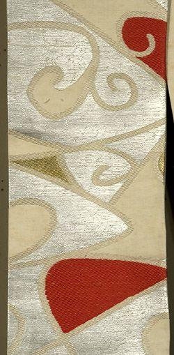 Japanese Han Habba Obi Ecru silk with silver, gold and silk brocading.