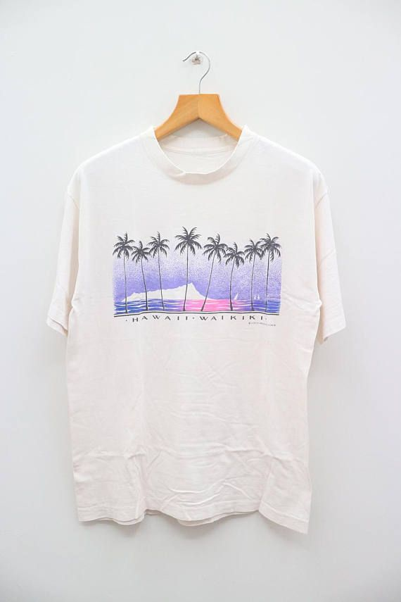 2a872665db46 Vintage HAWAII WAIKIKI Surfing Surf Hawaii Aloha White Tee T Shirt ...