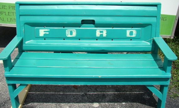 "Custom bench made with Ford Truck ""  ""Tailgate painted by UrbanTwiggs, $950.00."" I think our old tailgate would be cool in a bench like this."
