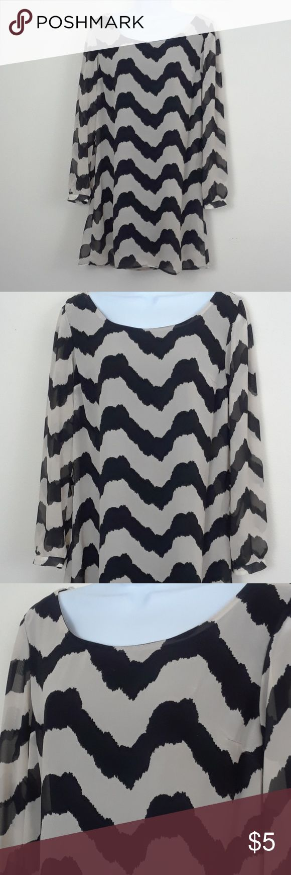 L8TER LONG SLEEVE CHEVRON PRINT DRESS Size medium, black and off-white, semi sheer, lined, 100% polyester, a couple tiny pinholes in front near shoulder, smudge on upper back, a couple fade imperfections in fabric near smudge in back (pictured). L8ter Dresses Midi