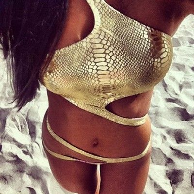 Gold snake skin pattern...This is one of the cutest bathing suits I've seen in a while