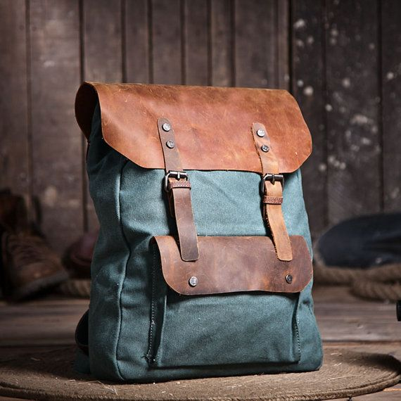 "Jade Green Backpack in a Canvas Leather Fusion, Student/College Bag, fits as a computer case for 15"" Laptops"