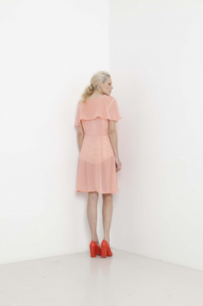 Ingrid Starnes 'Ili' dress in coral pink, AW 2012