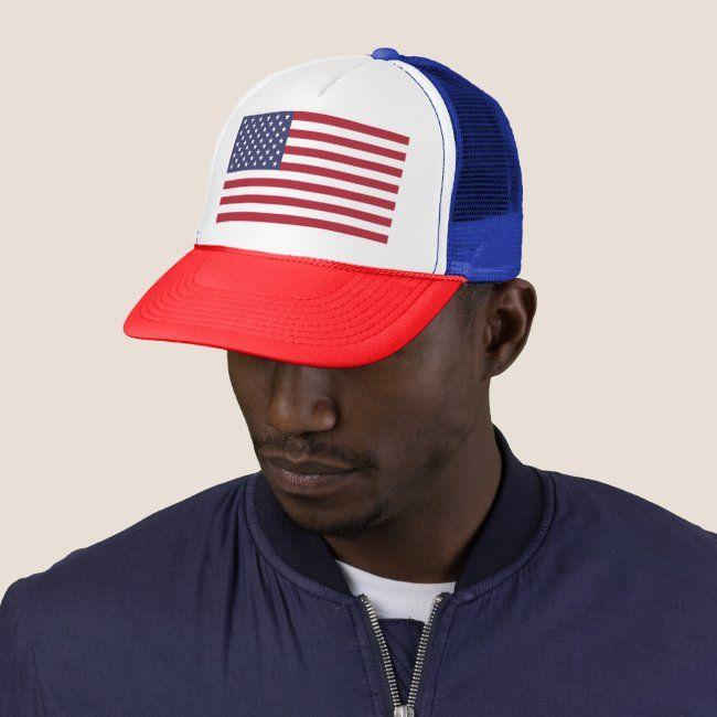 American United States Usa Flag Trucker Hat Zazzle Com In 2020 Trucker Hat Trucker Baseball Trucker Hat