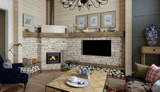 Дизайн интерьера Деревянного дома в стиле английский кантри. Проект. Гостиная.. Гостиная